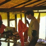 Mel Rice on radio at bush camp  at Ok Tedi, PNG (E Medley)